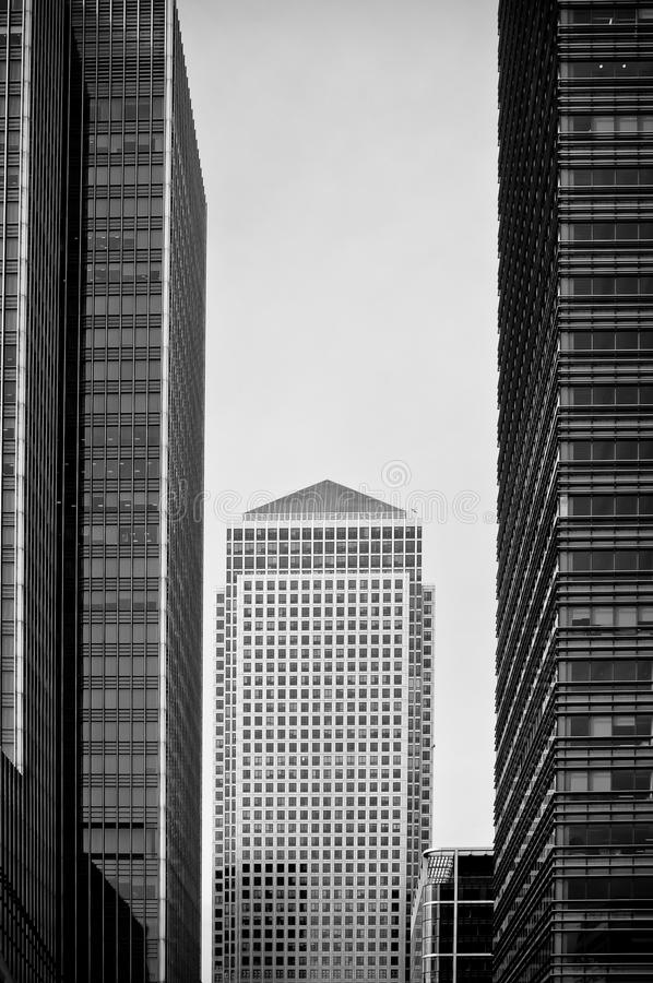 Black and white skyscraper. Canary Wharf, London, UK stock photography