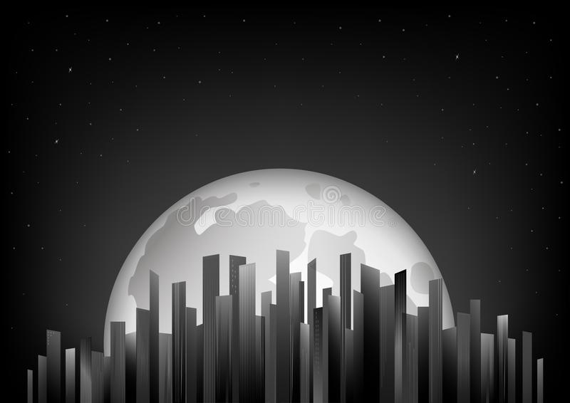 Black and white skyscrapers on the background of full moon and night sky, horizontal vector illustration. Black and white skyscrapers on the background of the royalty free illustration