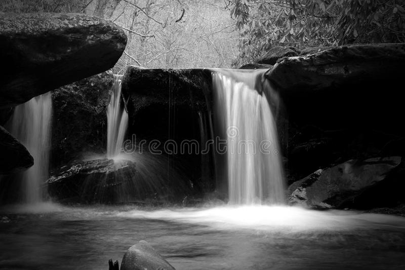 Black and White Slow Shutter Speed Nature Photography of a Waterfall. stock image