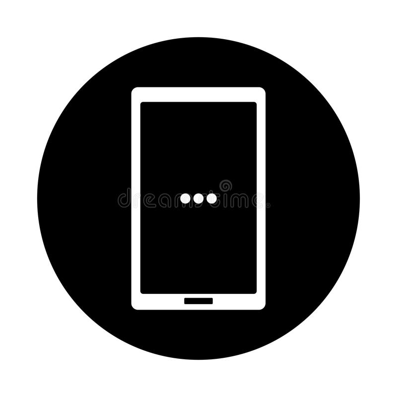 Black and white smart phone icon stock illustration