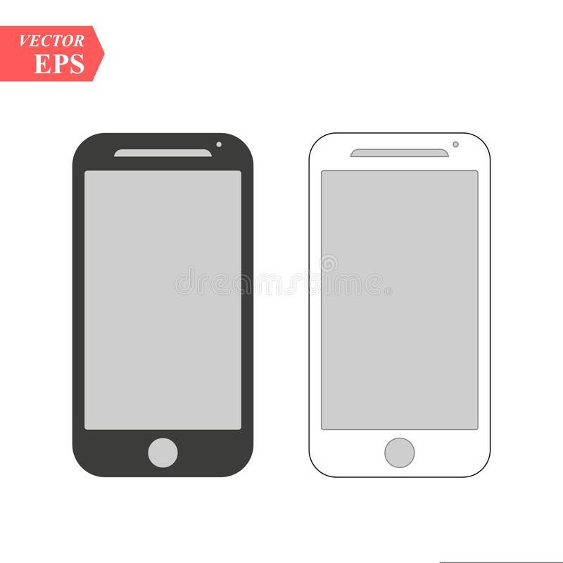 Black and white smartphone with blank screen isolated. Responsive screens mockups to showcase your app or mobile web site design. Vector illustration eps 10 vector illustration