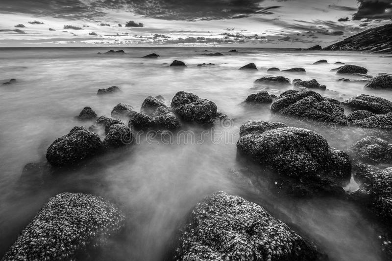 Black and white smooth wave in evening stock images