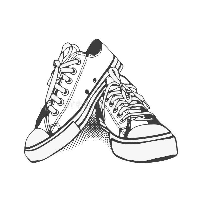 Black and White Sneakers on iSolated White Background stock photography