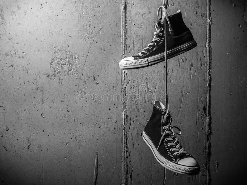 Black and White Sneakers royalty free stock images