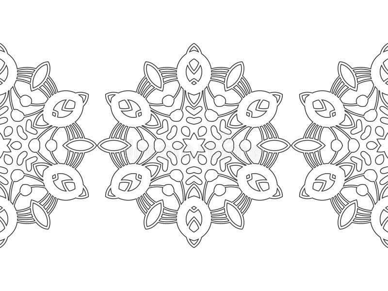 Black And White Snowflake For Coloring Book. Seamless Christmas ...