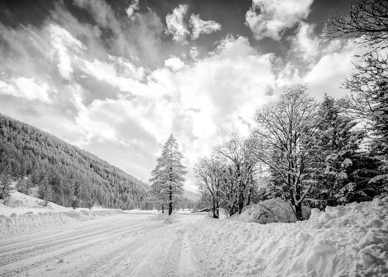 Black And White Snowy Mountain Landscape Stock Photo ...