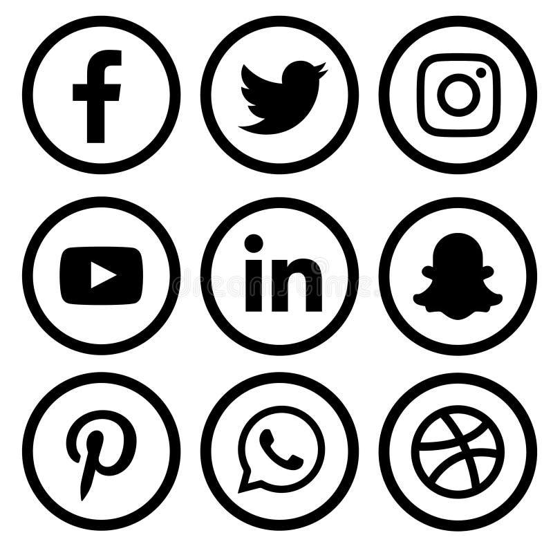 Free Black & White Social Media Logo Set Of Facebook Twitter Instagram Pinterest Whatsapp Dribble You-tube Linked In And Snap-chat Stock Image - 175682611