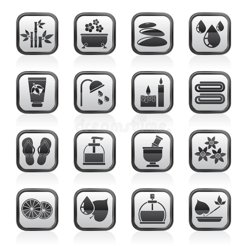 Black an white spa and relax objects icons royalty free illustration