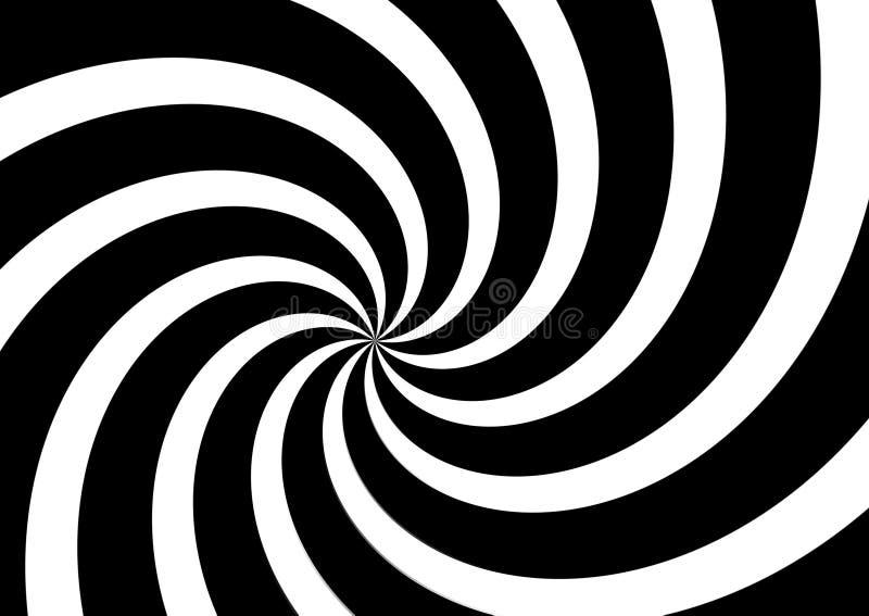 Black and White spiral optical illusion background . Illustration design royalty free stock photo