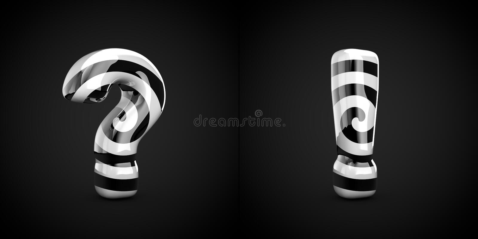 Black and white spiral pattern question and exclamation point symbols isolated on black background royalty free illustration