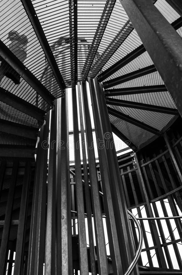 Black and white spiral staircase stock photography