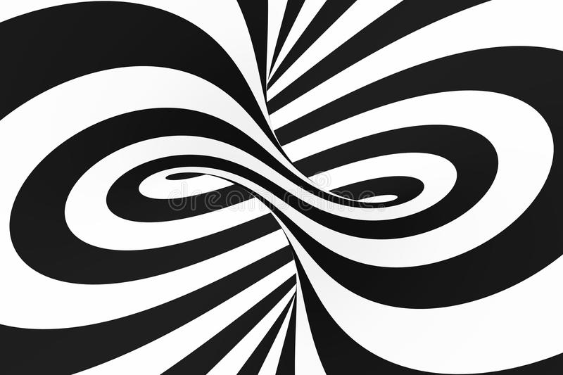 Black and white spiral tunnel. Striped twisted hypnotic optical illusion. Abstract background. stock images