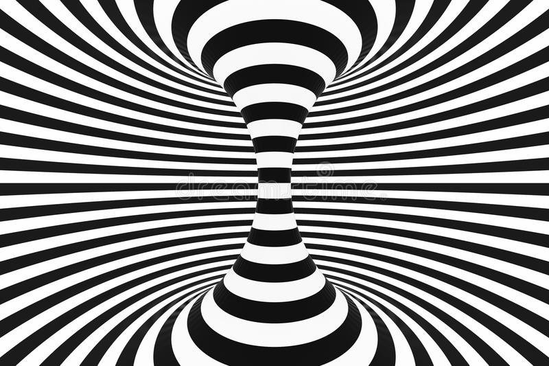 Black and white spiral tunnel. Striped twisted hypnotic optical illusion. Abstract background. 3D render. stock photo