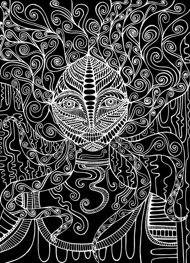 Black and white spirit shaman. Surreal fantasy doodle woman. Fantastic art with ornamental hair girl. Vector hand drawn decorative illustration vector illustration