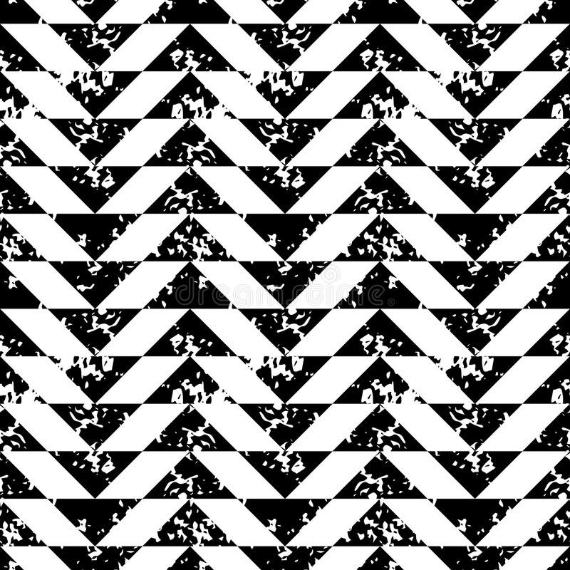 Black and white sponge print triangles geometric grunge seamless pattern, vector. Background stock illustration