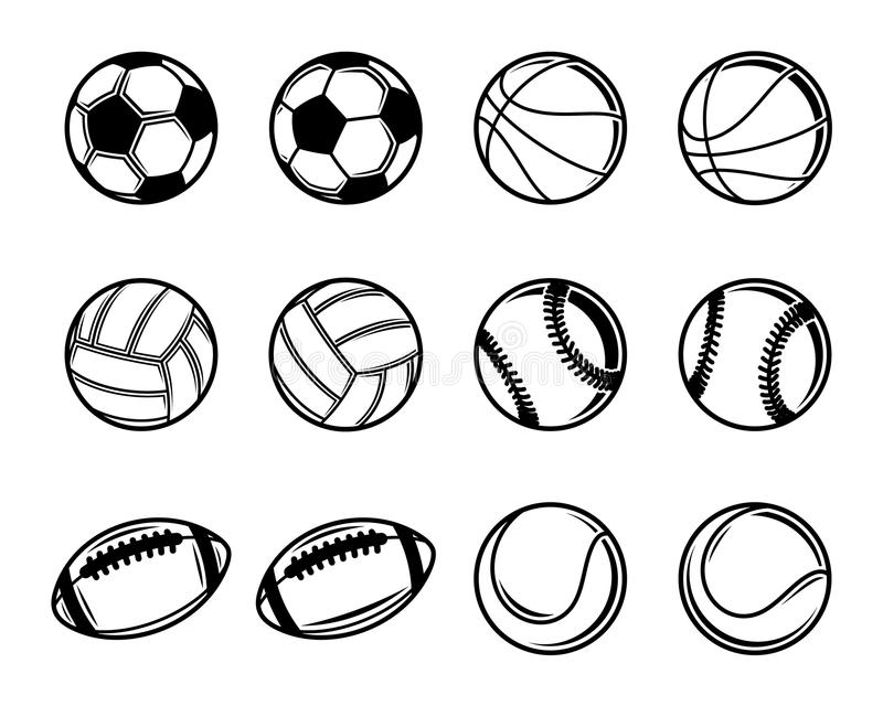 Black And White Sports Balls Collection Stock Vector Illustration Of Game Motion 54805614