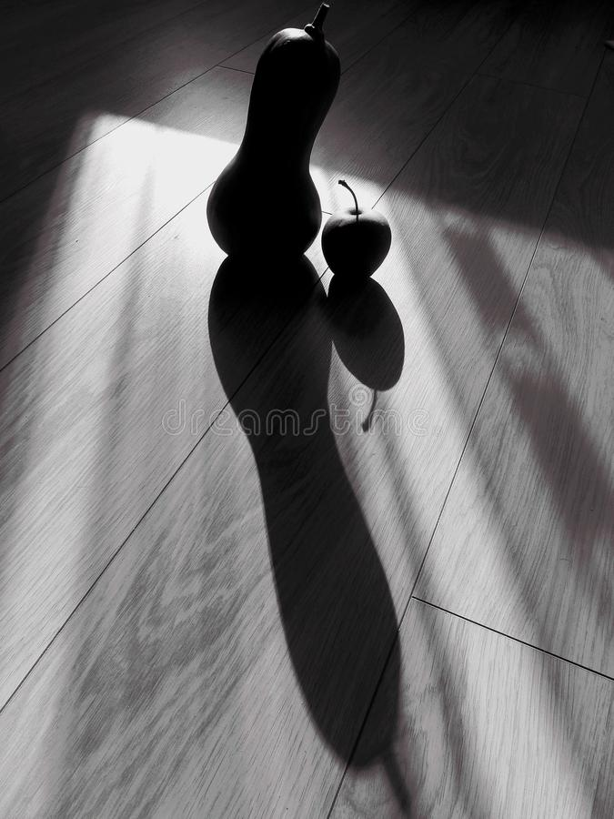 Black and white squash and apple still life abstract royalty free stock image