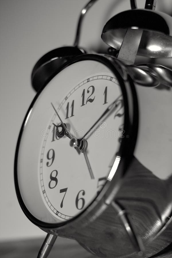 Black and White stainless steel old vintage clock alarm stock photos