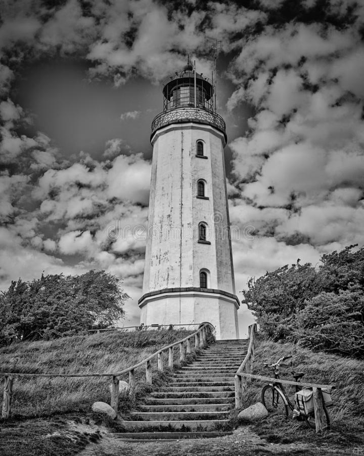 Black-and-white - Staircase to the lighthouse on the island Hiddensee. Mecklenburg-Vorpommern. Monochrome, architecture, building, landscape, old, sea, sky royalty free stock photography