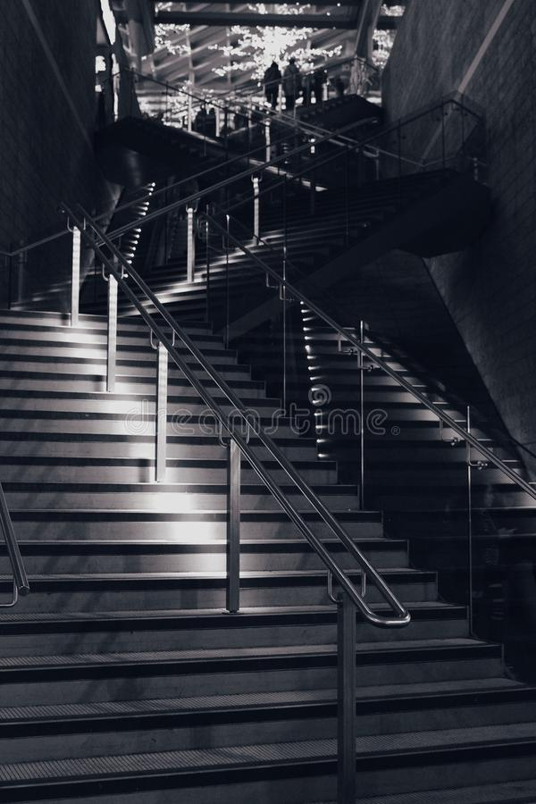 Black and white stairway to victory royalty free stock photos