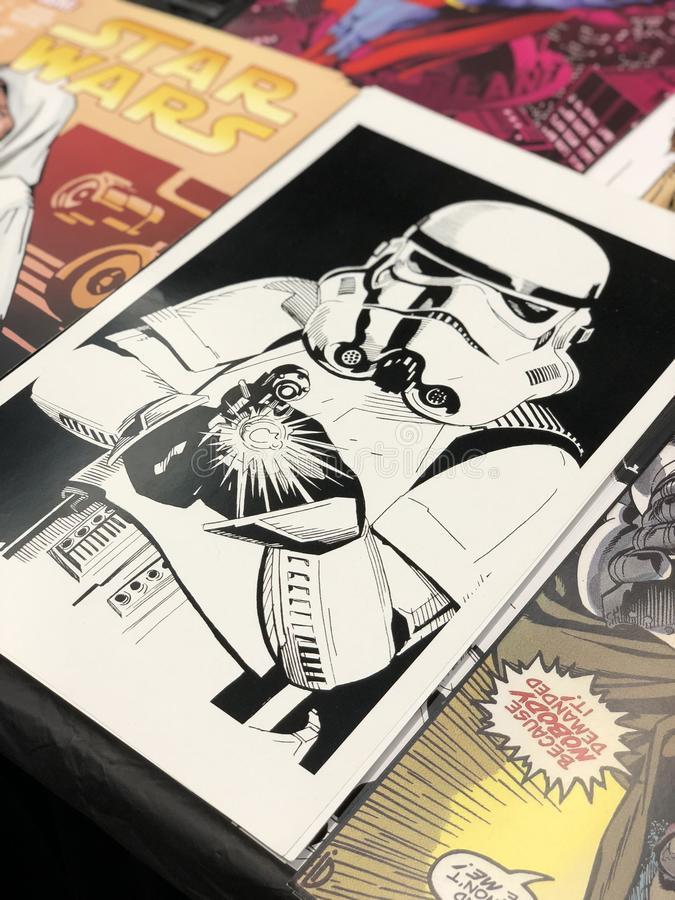 Stormtrooper Comic Print royalty free stock photography