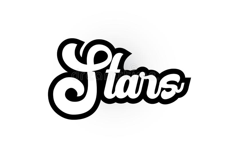 Black and white Stars hand written word text for typography logo icon design. Stars hand written word text for typography iocn design in black and white color royalty free illustration