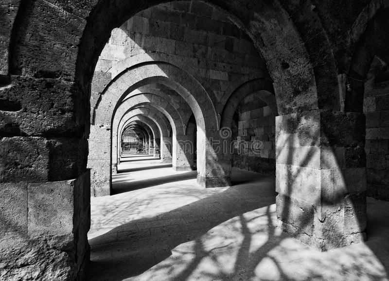Black and White Stone Arches in Turkey stock photography