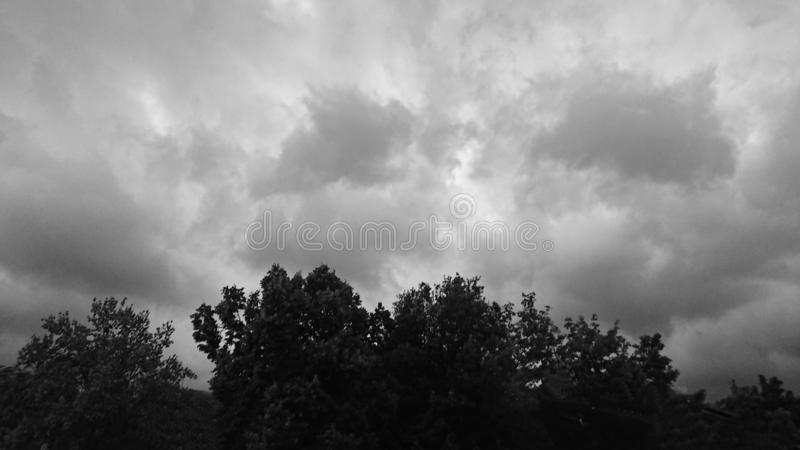 Black & white storm clouds. Rain, weather stock photo