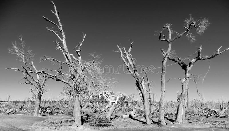 Black & White After the Storm. The destruction from a tornado stock photos