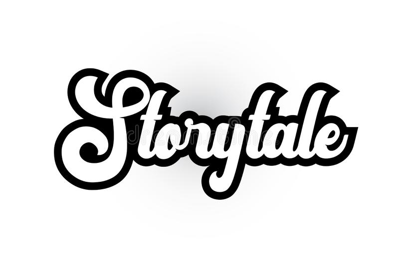 Black and white Storytale hand written word text for typography logo icon design. Storytale hand written word text for typography iocn design in black and white vector illustration