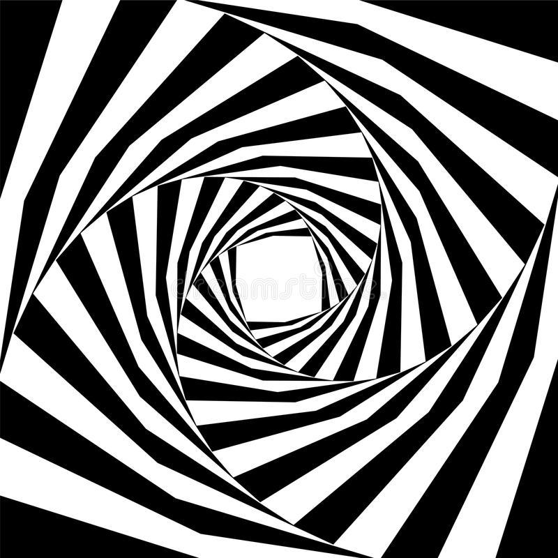 Black and White Striped Helix Expanding from the Center. Optical Illusion of Depth and Volume. vector illustration