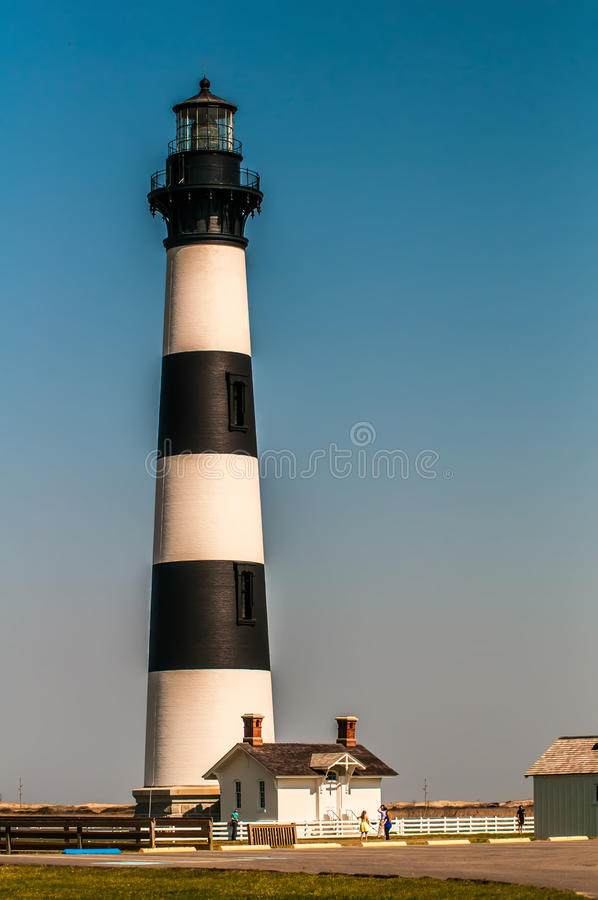 Black and white striped lighthouse at Bodie Island on the outer royalty free stock photos