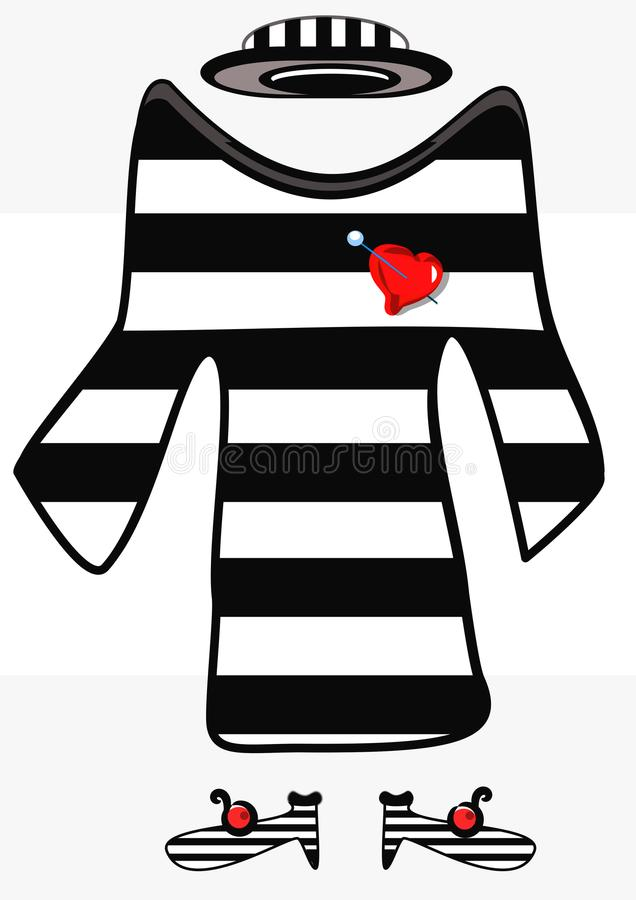 Women`s fashion full set very chic. Black and white striped suit for women with hat shoes and brooch in the shape of heart vector illustration