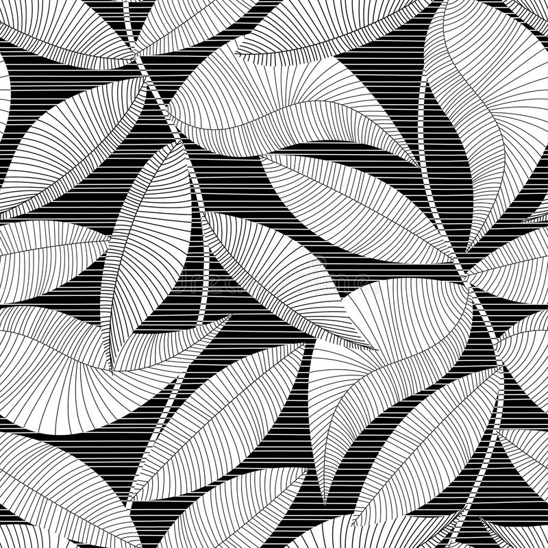 Black and white striped texture tropical seamless pattern.  stock illustration