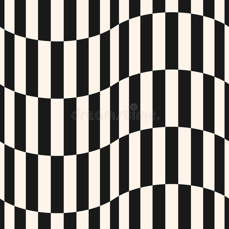 Black and white stripes vector seamless pattern. Vertical lines, wavy shapes. royalty free illustration