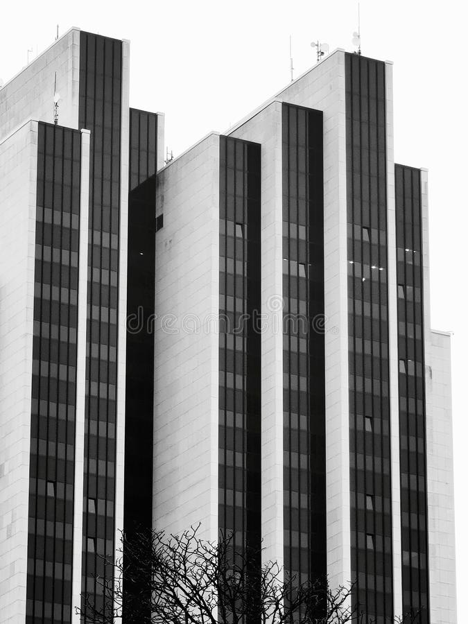 Black and white, structures and forms, that is modern architecture royalty free stock photo