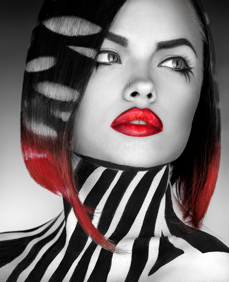 Black and white Studio photo og fashion model with stripes on bo stock photography