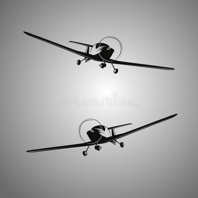 Black-and-white stylized aircraft royalty free stock photos