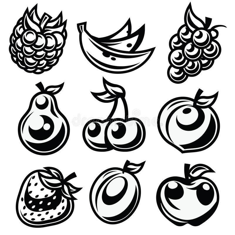 Download Black And White Stylized Fruit Icons Stock Vector - Image: 28423608
