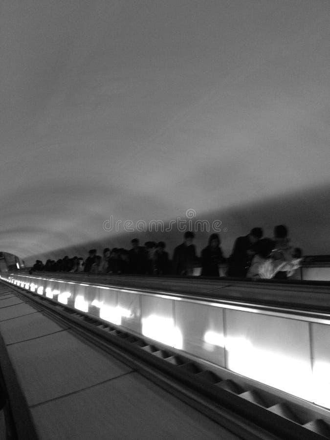 Black and white subway escalator. North Korea royalty free stock image