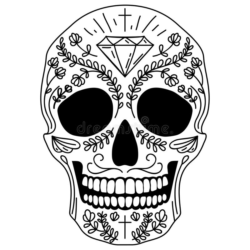 Download black and white sugar skull stock vector illustration of festival cross 45450745
