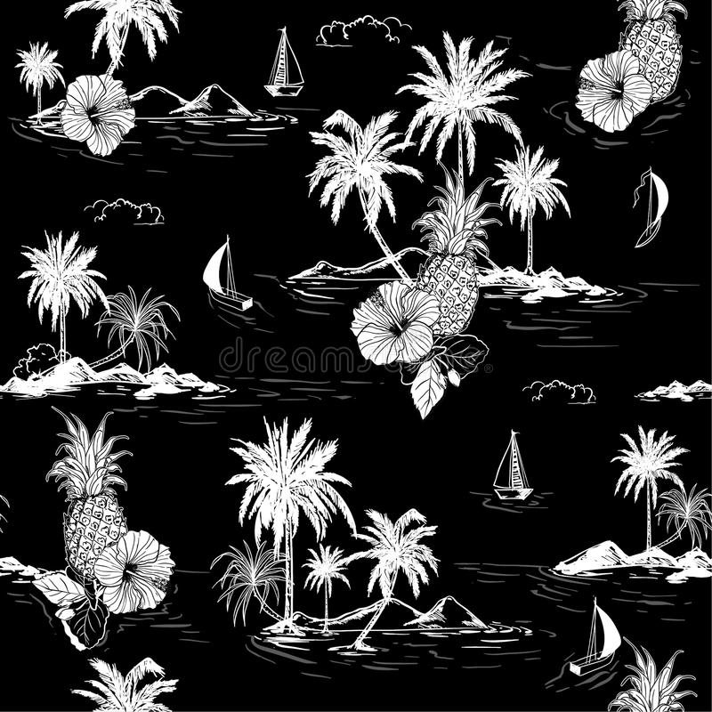 Black and white summer Island hawaiian mood hibiscus flower,plam trees ,ships,coconut tree ,wave in hand drawn style seamless pat. Tern vector for fashion stock illustration