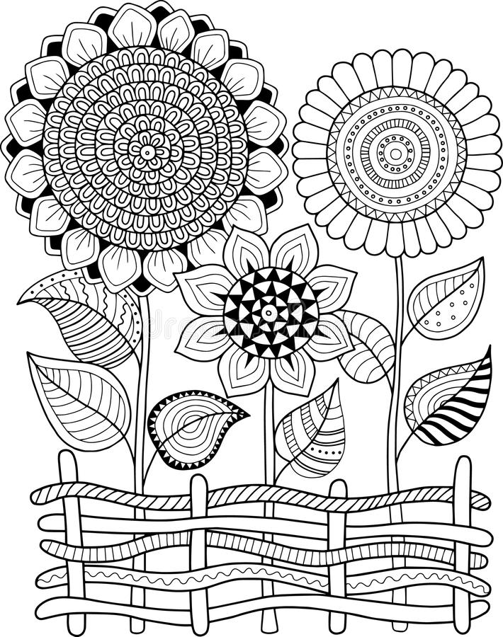 Black-and-white Summer Sunflowe isolated on white. Abstract doodle background made of flowers and butterfly. Vector coloring page. Black-and-white Summer flowers stock illustration