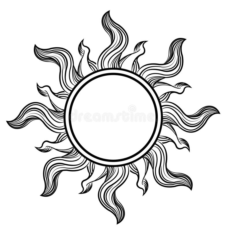 Sun drawing classic. Black and white sun or solar drawaing classic illustration clipart vector illustration