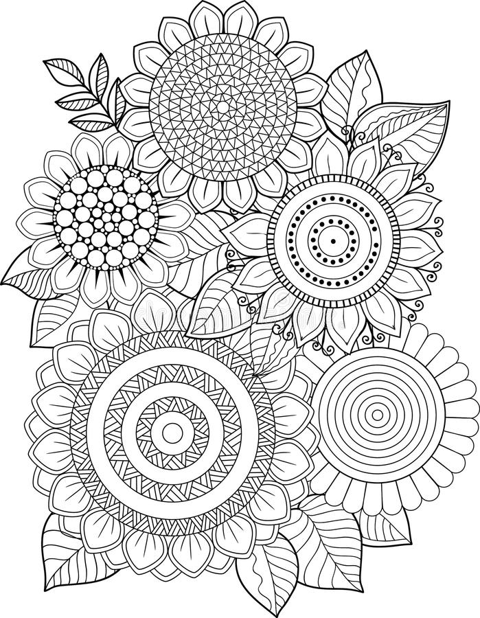 Black-and-white Sunflowers isolated on white. Abstract doodle background made of flowers and butterfly. Vector coloring page royalty free illustration