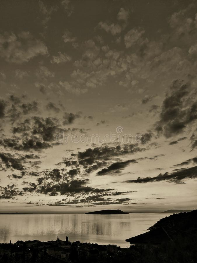 Black&White sunset on sea stock photography