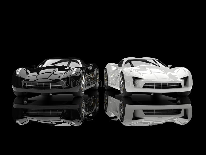 Black and white super sports concept cars - reflective ground. Isolated on white background vector illustration