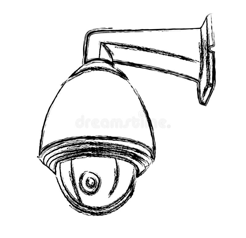 black and white surveillance camera  cctv  stock photo