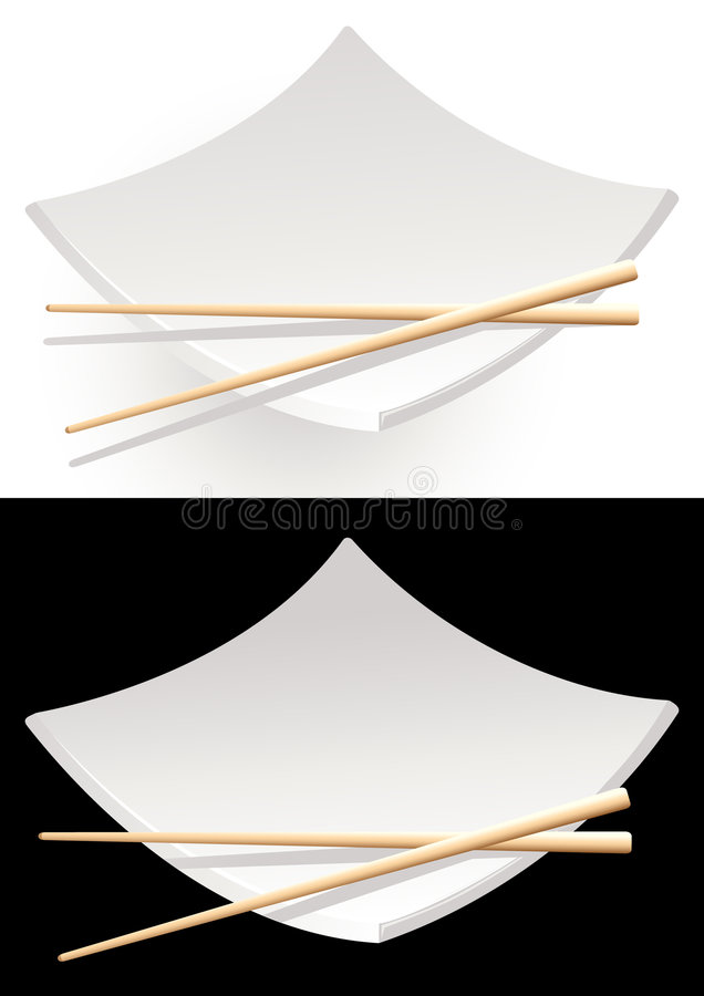 Black_and_white_sushi_plates ilustração stock