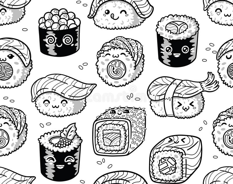 Sushi Disegno Da Colorare.Kawaii Rolls And Sushi Manga Cartoon Set In Outline Stock